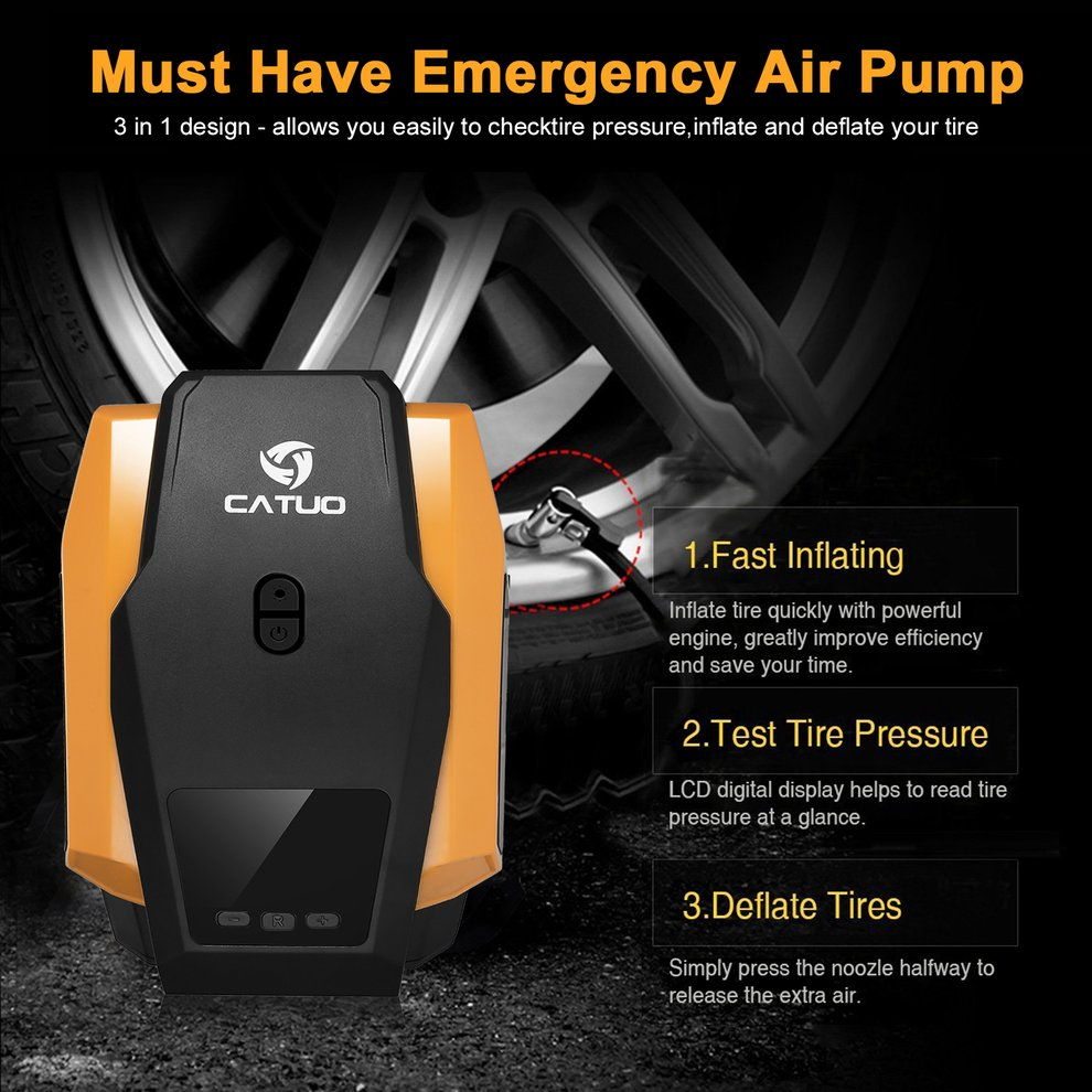 12V Vehicle Mounted Charging Pneumatic Pump Air Compressor Dual use Home Electric Pump Portable Emergency Tire Car Charge Pump