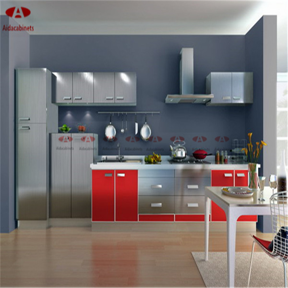 Modern high gloss stainless steel kitchen frestanding for Kitchen cupboards for sale