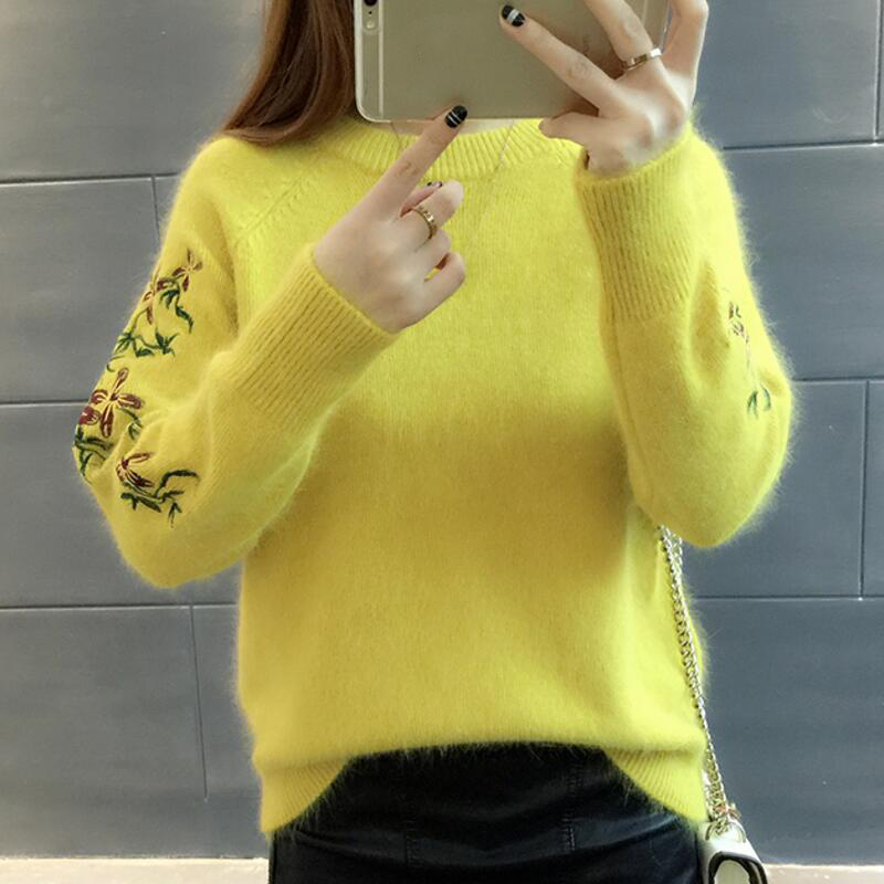 Gris Grueso Pink Manga Bordado Mujeres Y Loose Suéter amarillo azul Larga leather Marino Suéteres Pullover Casual Tops Pullovers Mujer Invierno 2017 rojo Otoño De Punto blanco RawX5UqR
