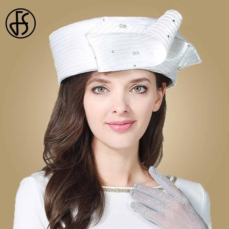 FS Vintage Fascinator blanco sombrero Fedora para mujer sombreros de fiesta de té de la Iglesia de la boda dama sombreros con diamante Kentucky Derby sombrero - 2