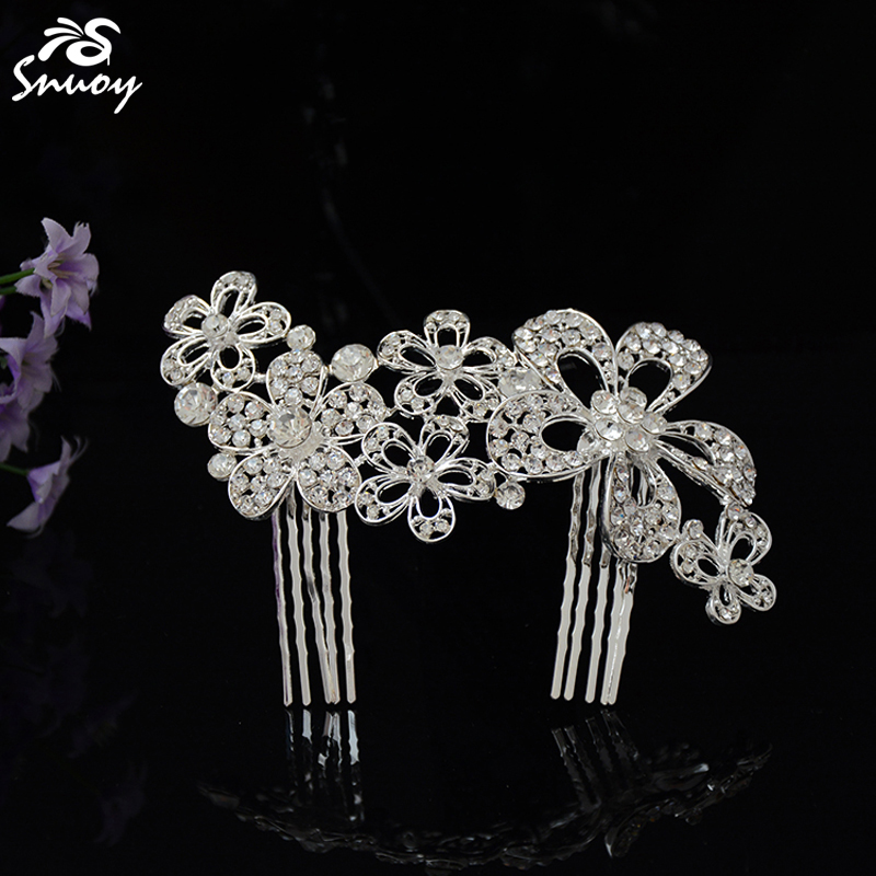 Snuoy Flower Silver/Gold/Red Hair Combs Stylish Bridal Comb Vine Rhinestone Headpiece for Women Wedding Hair Accessories