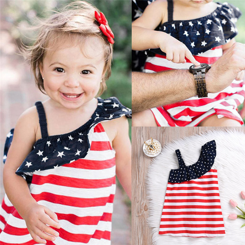 HTB1VDNPvRnTBKNjSZPfq6zf1XXaE - Baby Girls Infant Kids 4th Of July Star Dress Clothes Sundress Casual Sets T#