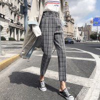 BGTEEVER Vintage Plaid Pants for Women Sashes Pencil Pant High Waist Retro Work Trousers Female Casual Bottoms 2018 high quality