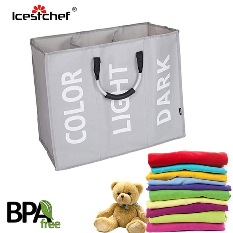 ICESTCHEF 3 Compartments Laundry Storage Basket Oxford Cloth Storage Organizer Basket Washing Storage Box For Toy Dirty Cloth
