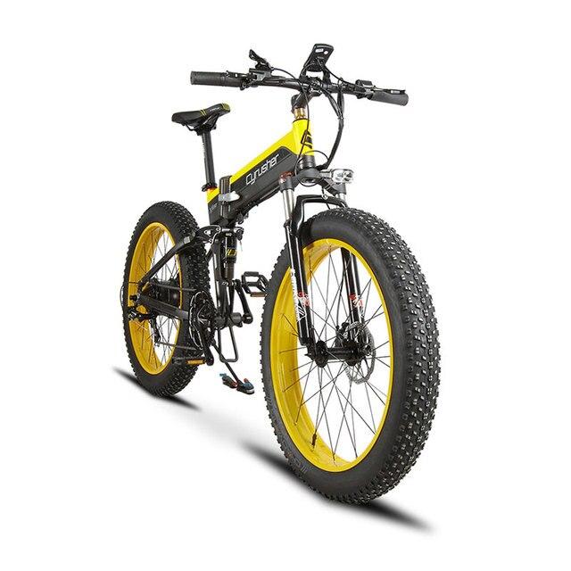 Cyrusher Cruiser складной велосипед XF690 500 Вт 48 В 10A электронный Fat tire Bike полный Подвеска 7 Скорость Mountain велосипед