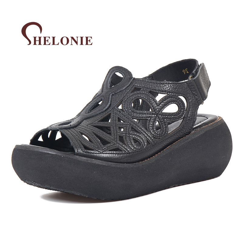 Genuine Leather Women Shoes Platform shoes Hook & Loop Handmade Casual leather Shoes Soft Casual Women Sandals Shoes women shoes handmade genuine leather
