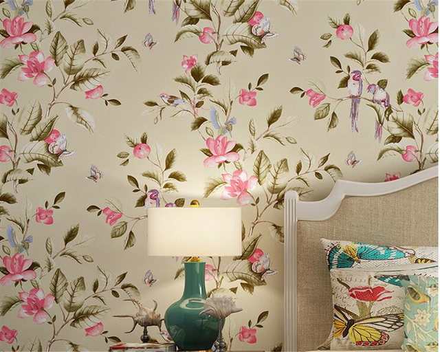 American Flower Bird Wallpaper Bedroom Living Room Background Wall Papers Home  Decor Papel De Parede Wallpaper