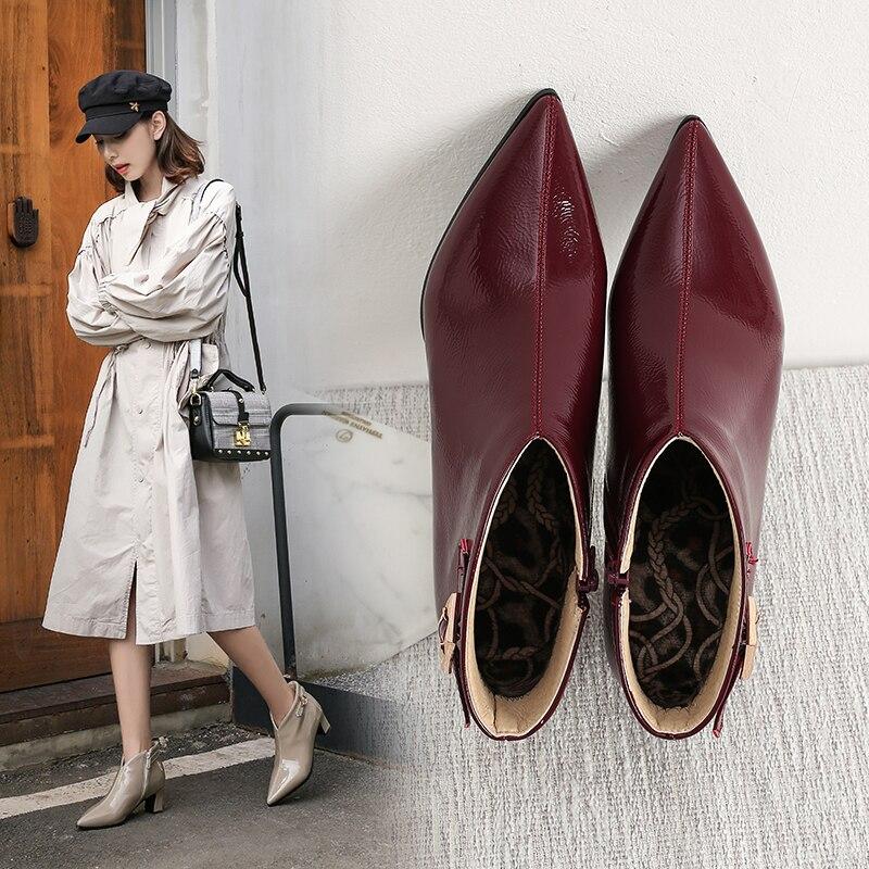 INS/популярные женские ботильоны из лакированной кожи размера плюс 22 28 см в европейском и американском стиле; Женские ботинки из микрофибры с острым носком на высоком каблуке|Полусапожки|   | АлиЭкспресс