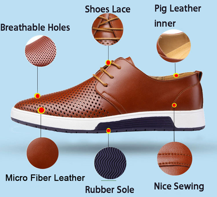 HTB1VDOMaKL2gK0jSZFmq6A7iXXa6 Merkmak New Men Casual Shoes Leather Summer Breathable Holes Luxurious Brand Flat Shoes for Men