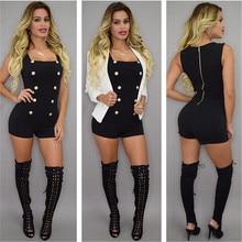 Summer new fashion sleeveless womens uniforms wind buckle nightclub jumpsuit sexy high waist