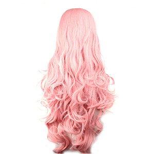 Image 2 - WoodFestival 100 cm Cosplay Wig Pink Yellow Purple High Temperature Fiber Heat Resistant Long Wavy Synthetic Wigs for Women