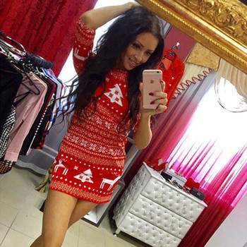 AiiaBestProducts Women Casual Christmas Deer Printed Dress
