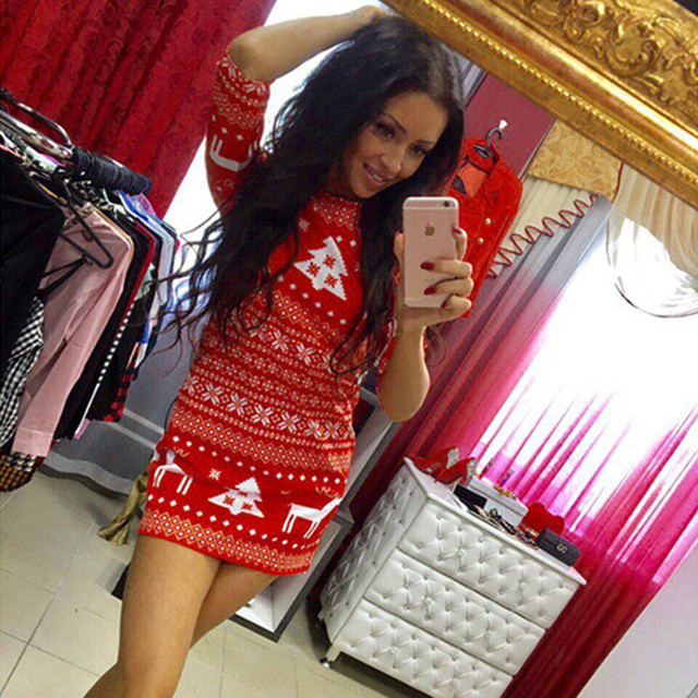 Summer Desses 2018 New Fashion Women Casual Christmas Deer Printed Floral Mini Dress Three Quarter O-neck Sexy Party Dress
