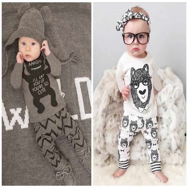 Осень 2017 мальчиков костюм Европа, маленькие монстры, с длинными рукавами костюм младенца торговля хлопок ребенок мультфильм комплект одежды