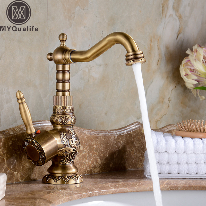 Antique Brass Bathroom Faucet Basin Faucets Carving Tap Rotate Single Handle Hot and Cold Water Mixer Taps Crane free shipping orb black bathroom faucet sink basin faucet mixer tap cold and hot water taps dual handle antique brass jp119l