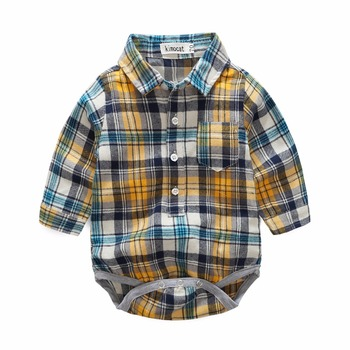 tz1141 kimocat Newborn Clothing Sets Spring Baby boy Clothes Plaid Long Sleeve Fashion Kid's Suits Rompers + Pants 0-2 Years