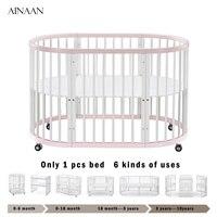 Ainaan 6 в 1 деревянная кроватка может быть настольная пеленальный столик для От 0 до 10 лет Детские принцесса детские кроватки