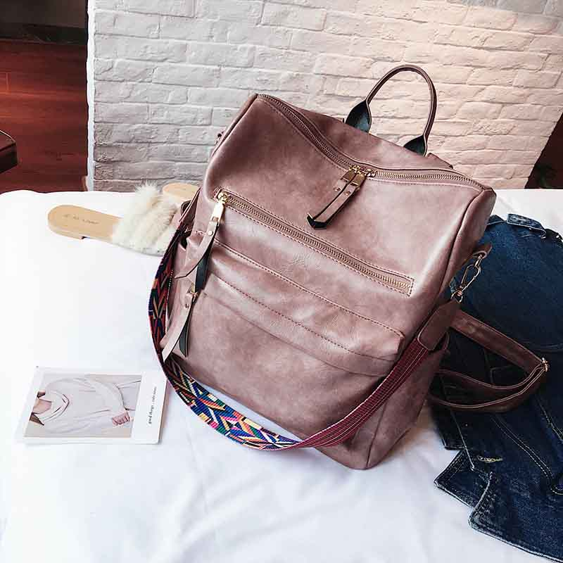 Leather Backpack Women Students School Bag Large Backpacks Multifunction Travel Bags Mochila Pink Vintage Back Pack Xa529h #2