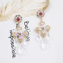 New Exaggerated Luxury Colorful Rhinestone Cross Fashion Earrings for Women Charm Crystal Water Drop Pendientes Jewelry 5A1036
