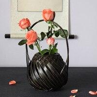 Винтаж натуральный бамбук ткачество ваза для цветов корзины клуб чайхана бытовой украшения дзен цветочные композиции ваза Японии Стиль