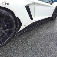 Углерода сбоку юбка расширение для LAMBORGHINI Aventador LP700 сглаживатель перепадов напряжения Стиль боковые юбки из углеродного волокна тела компле