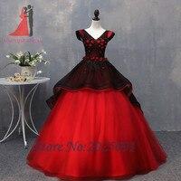 熱い販売ブラックレッド夜会服quinceaneraのドレス2018ロングウエディングガウンレースアップリケビーズふっくら甘い16ドレスのための15