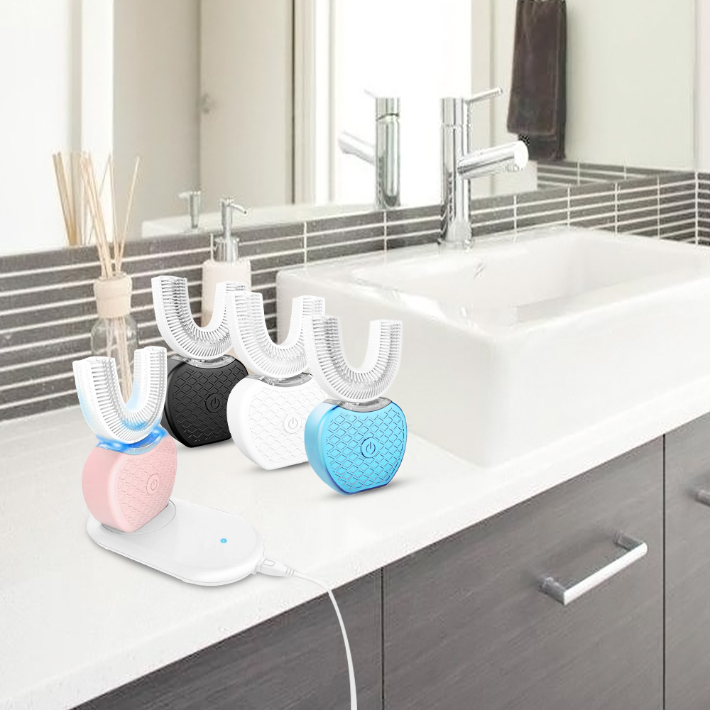360 grados automático recargable cepillo de dientes acústico eléctrico cepillo de dientes Dental USB de silicona cepillo de dientes cabezas cuidado Smart U tipo