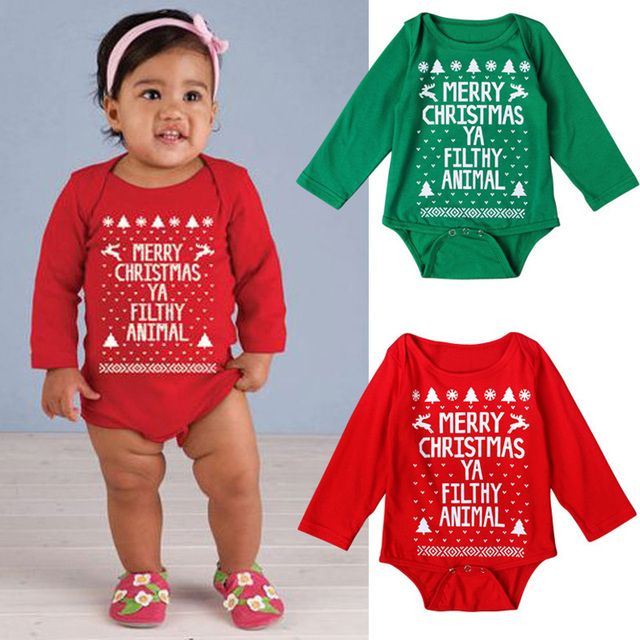 1c7abd096c13 Newborn baby clothes Letter Print Long Sleeve christmas romper toddler  romper girls boy Jumpsuit baby onesie costume Clothes