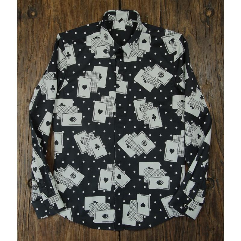 De M Automne Complète 100 La Camisas 2018 Slim Affaires Plus Poker Manches 4xl Robe Mâle Imprimer Chemises Coton Chemise Mode Photo Hommes Taille XqHwFHCx