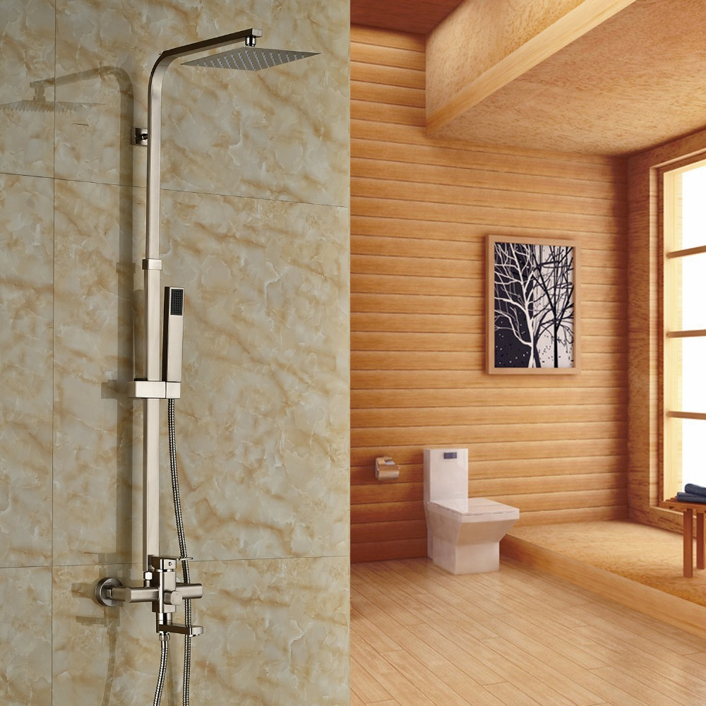 Brushed Nickel Finished Wall Mounted Bathtub Faucet 8