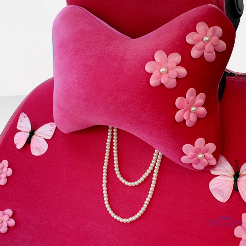 Ladycrytal cute cotton car neck pillow headrestpink flowers soft ladycrytal cute cotton car neck pillow headrestpink flowers soft car seat supports accessories for girls women ladies 1 piece mightylinksfo