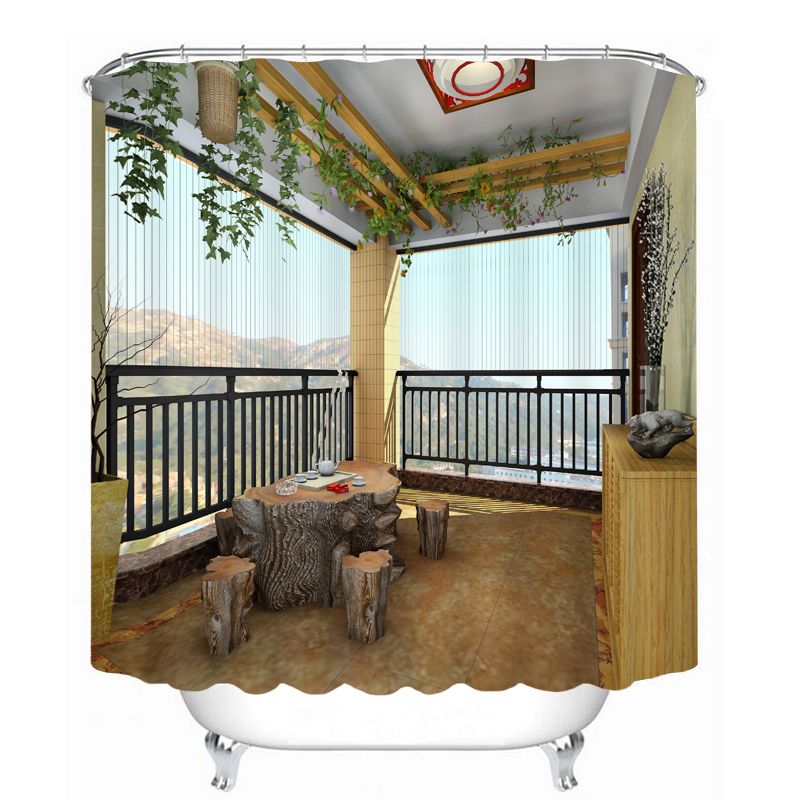 MYRU 3D Print Waterproof Balcony Shower Curtains Bath
