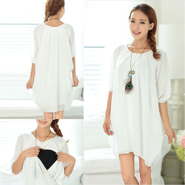 f347ef06460d7 Wholesale hot sale new arrival fashion style korean Chiffe Maternity  Clothes Summer Maternity dress Nursing clothing feeding dr