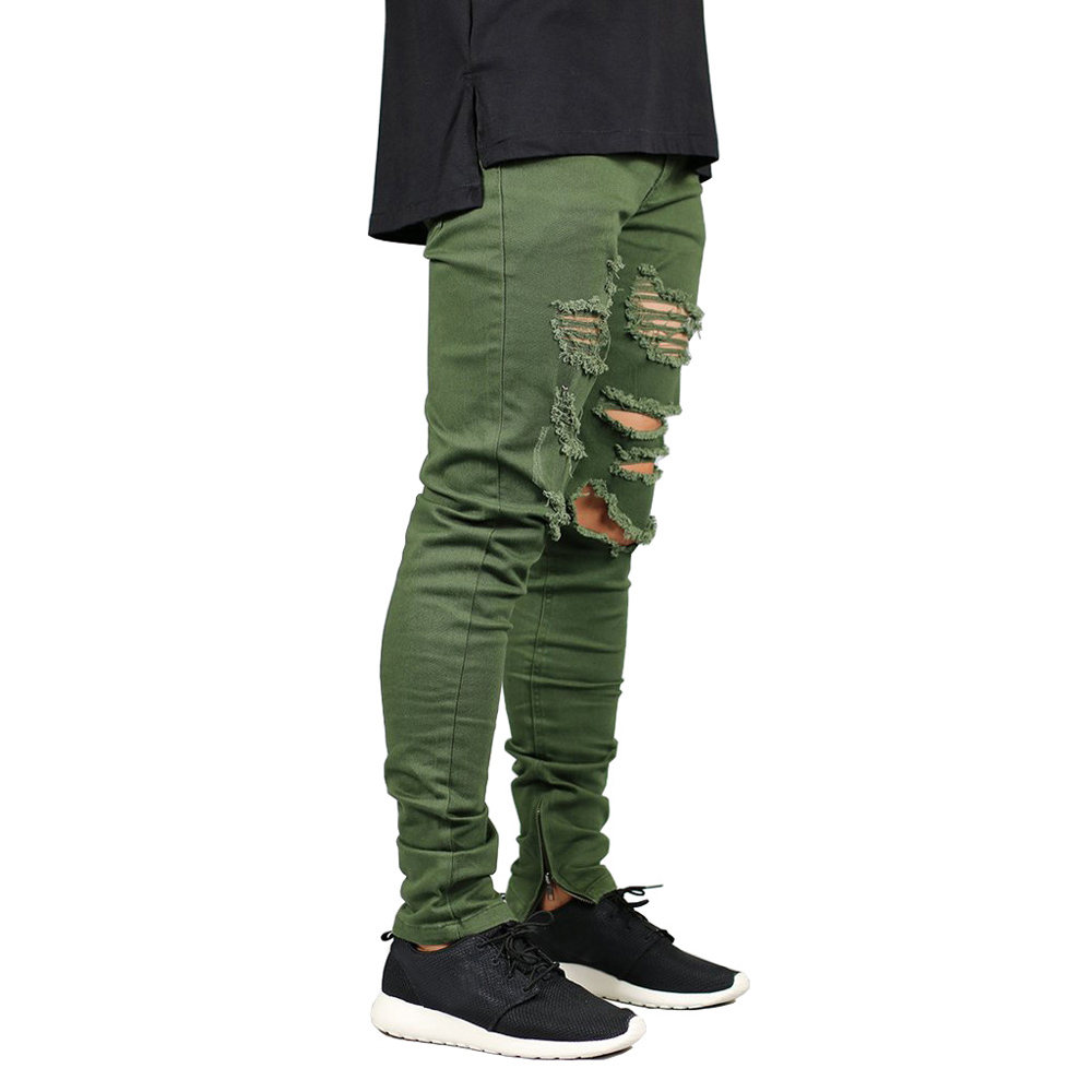 Men Zipper Destroyed Jeans Stretch Fashion Army Green Ripped Men Skinny Jeans Y2631