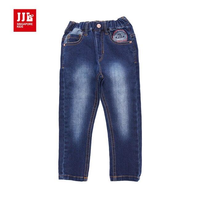 Babys мальчики демин джинсы Патч украшения опрятный стиль новый повтор брюки