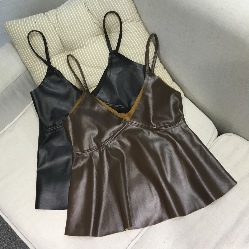 LIENZY Spring Black Women PU Leather Crop Top Deep V Neck Silver Skirt Strapless Women Camis Tank Tops