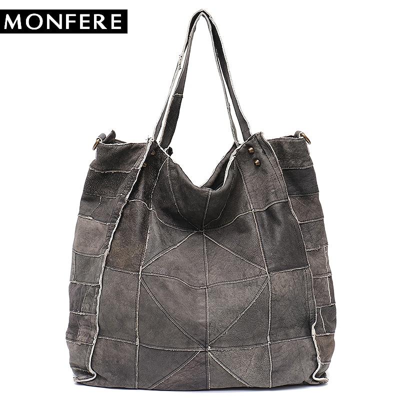 где купить MONFERE Vintage Leather Women Big Tote Bags Real Leather Messenger Shoulder Bags Female Large Quilted Woman Bag Genuine Leather по лучшей цене