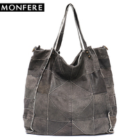 MONFERE Vintage Leather Women Big Tote Bags Real Leather Messenger Shoulder Bags Female Large Quilted Woman Bag Genuine Leather