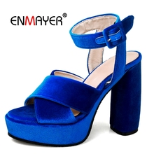 ENMAYER  Basic Casual Buckle Strap Shoes Woman Women New Fashion Sandals 2018 Gladiator Size 34-43 LY485