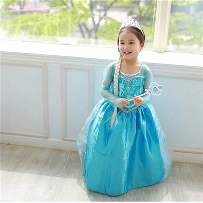 HTB1VDQtm26TBKNjSZJiq6zKVFXaS Fancy 4-10y Baby Girl Princess Elsa Dress for Girls Clothing Wear Cosplay Elza Costume Halloween Christmas Party With Crown