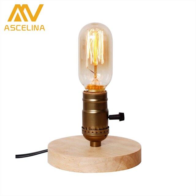 ASCELINA American Vintage Loft Style Table Lamp Wooden Lamp Base Decorative  Creative Desk Lamp Night Light