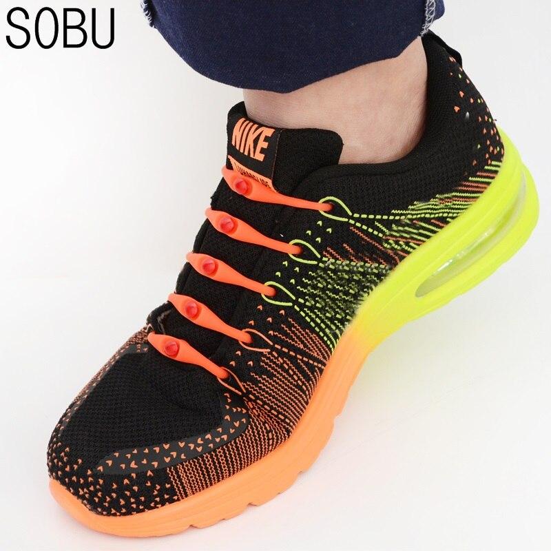 12pcs/lot Black Round Creative No Tie Shoelaces Elastic Silicone Shoe Lace Shoelaces For Kids And Adults 13 Colors