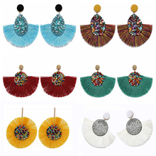 Bohemian Round Fringe Tassel Colorful Beads Earrings For Women Handmade Ethnic Drop Earrings Female Fashion Jewelry red gray round colorful embroidery drop earrings