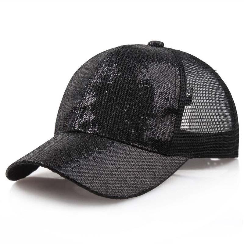 Женская бейсбольная кепка с хвостиком для девочек, летняя блестящая Кепка с блестящим блеском,, летние модные уличные спортивные солнцезащитные очки, головные уборы - Цвет: black