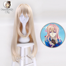 80cm New Violet Evergarden Anime Cosplay Wig Women Long Straight Blonde Synthetic Hair Wigs For Costume Party Perucas + Cap