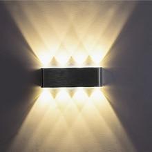 Yukarı ve aşağı kapalı 2W 4W 6W 8W LED duvar lambaları AC100V 220V alüminyum süslemeleri duvar aplik yatak odası LED duvar ışık