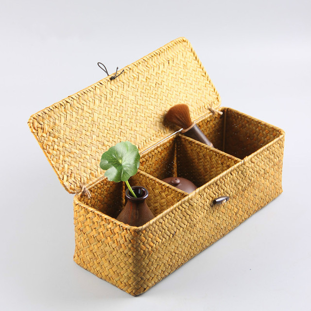 Tea Set Storage Box Handmade Straw Weaving Content Three Divisions Of The  Lid Basket Vintage Jewelry