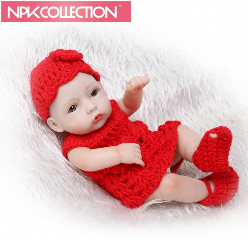 Brown Eyes 11 Inch Reborn Girl Baby Doll Silicone Vinyl Lifelike Newborn Babies Lovely Red Clothes Kids Birthday Gift N114-5