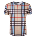 New Arrival Men Print Fashion lattice T-shirt O Round Neck Top Quality Short Sleeve T shirt Male Casual Brand Clothing