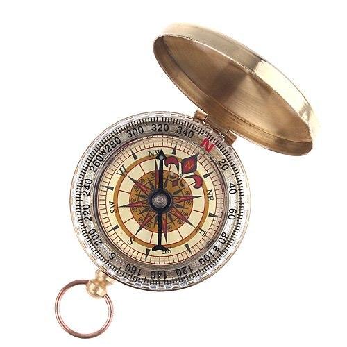 2x2 x Классические карманные часы стиль под старину лагерь Компас Карманный компас рыбалки, кемпинга, Пеший туризм, охота, цвета латуни